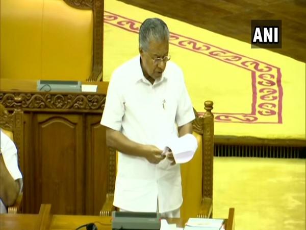 Kerala Chief Minister Pinarayi Vijayan speaking at state Assembly on Tuesday. (Photo/ANI)