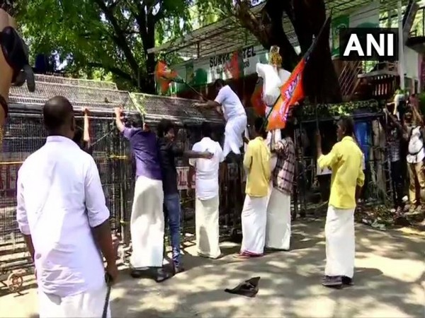 BJP SC Morcha workers staged a protest in Thiruvananthapuram on Saturday. Photo/ANI