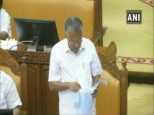 Kerala Chief Minister Pinarayi Vijayan speaking in the Assembly