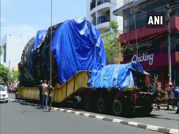 The truck carrying the Aerospace Horizontal Autoclave reaches Thiruvananthapuram