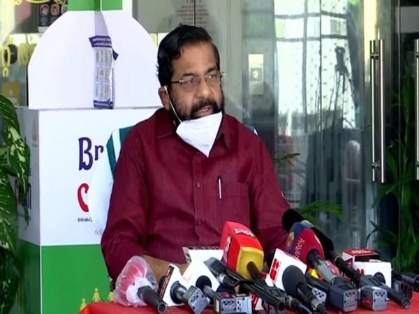 Kerala Devaswom Minister Kadakampally Surendran addressing a press conference in Trivandrum on Monday. [Photo/ANI]