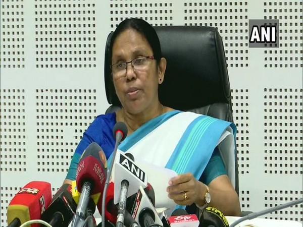 Kerala Health Minister KK Shailaja addressing a press conference on Tuesday. Photo/ANI