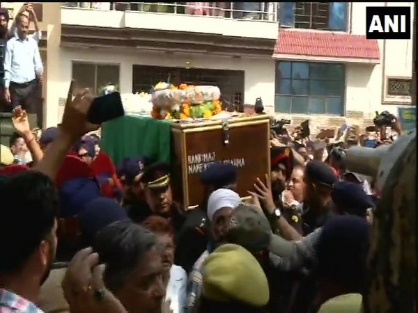 Mortal remains of Major Ketan Sharma reached his residence in Meerut on Tuesday. Photo/ANI