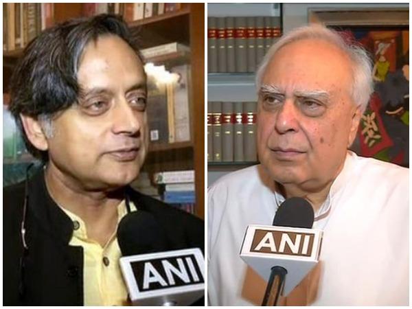 Congress leaders Shashi Tharoor, left, and Kapil Sibal