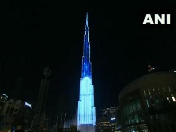 Burj Khalifa in Dubai lit at the New Year's eve.