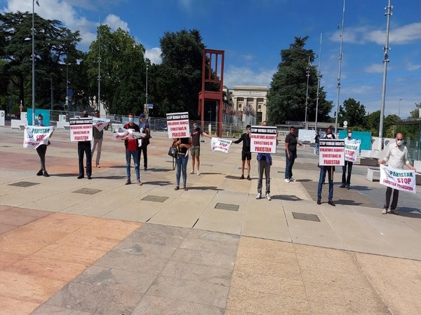 Protest being held outside UN headquarters in Geneva over discrimination against minorities by Pakistan