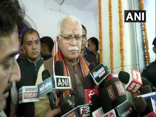 Haryana Chief Minister ML Khattar speaking to reporters in Gurugram on Saturday. Photo/ANI
