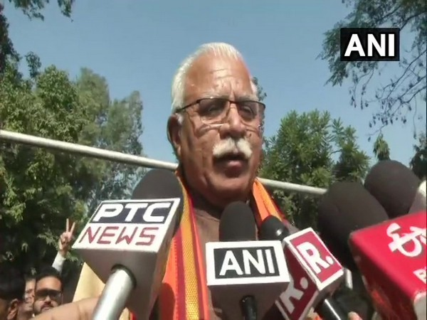 Haryana Chief Minister Manohar Lal Khattar speaking to reporters in Karnal on Monday.