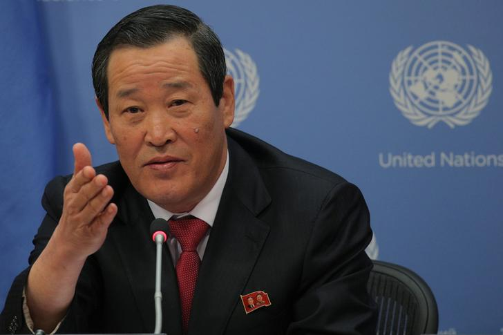 North Korea U.N. Ambassador Kim Song speaks during a news conference at U.N. headquarters in New York on Tuesday