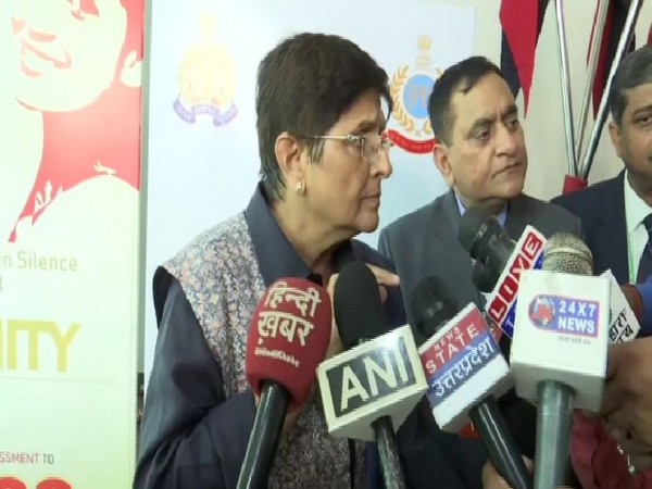 Puducherry Governor Kiran Bedi speaking to reporters in Lucknow on Thursday. Photo/ANI