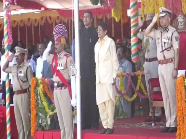 Lieutenant Governor Kiran Bedi at Republic Day celebrations in Puducherry on Sunday. Photo/ANI