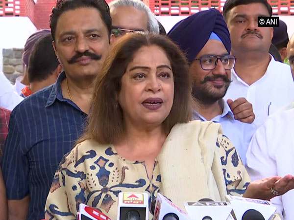 BJP candidate from Chandigarh Kirron Kher speaking to media on Thursday Photo/ANI