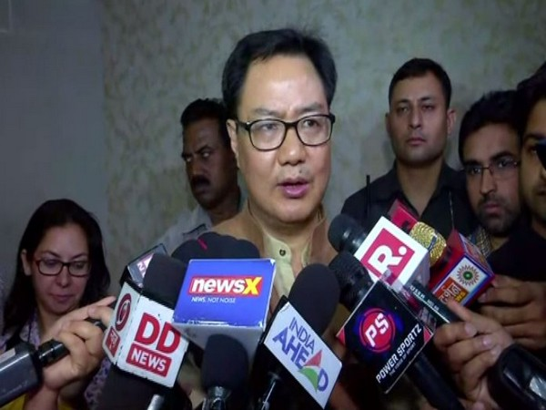 Union Sports and Youth Affairs Minister Kiren Rijiju talking to reporters in New Delhi on Friday. Photo/ANI