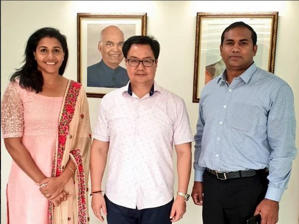 Union Sports Minister Kiren Rijiju with Anju Bobby George in New Delhi on Tuesday. Photo/ANI