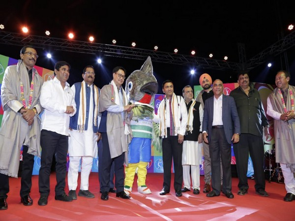 Chief Minister of Goa Pramod Sawant and Union Minister of Youth Affairs and Sports Kiren Rijiju during unveiling of mascot for the Goa 2020 National Games on January 31.