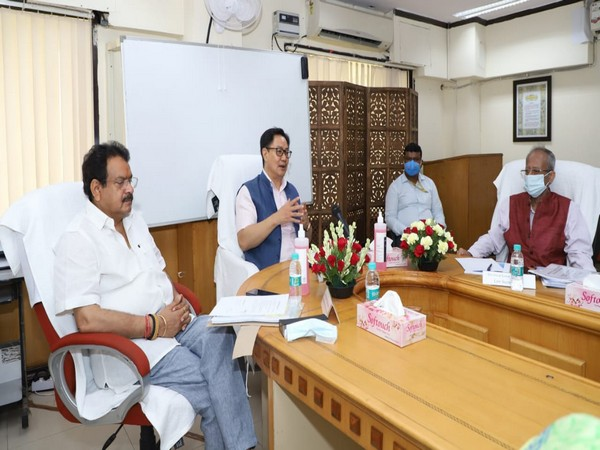 Rijiju took a meeting with the officers of the Department of Legal Affairs and Legislative Department. (Photo/ANI)