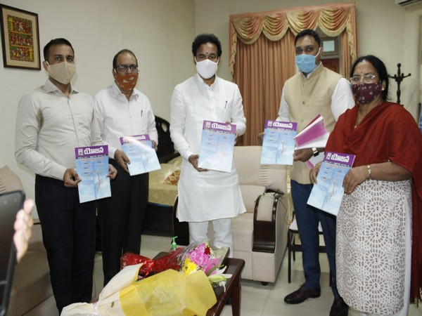 Mos G Kishan Reddy with officials of the Information and Broadcasting Ministry, Hyderabad on Sunday
