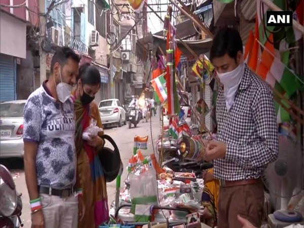 Vendor in Delhi selling kites on the occasion of Independence Day. (Photo/ANI)