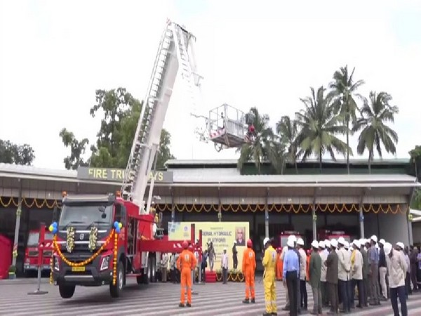 Aerial hydraulic platform being inducted into the fire and rescue fleet of BPCL Kochi Refinery. Photo/ANI