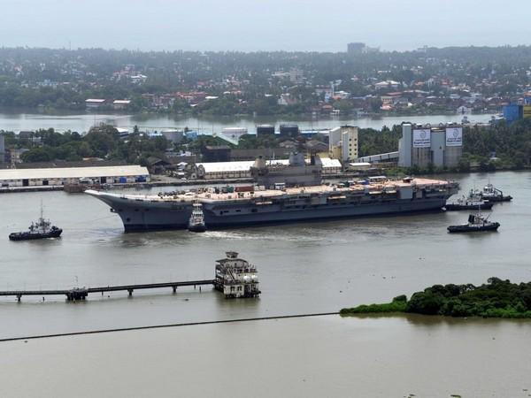 Basin trials of Indigenous Aircraft Carrier (IAC) gets conducted at Cochin Shipyard Limited (CSL) (Photo ANI)