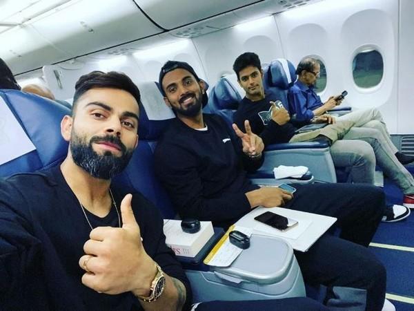 India skipper Virat Kohli with KL Rahul and Shivam Dube (Photo/ Virat Kohli Twitter)