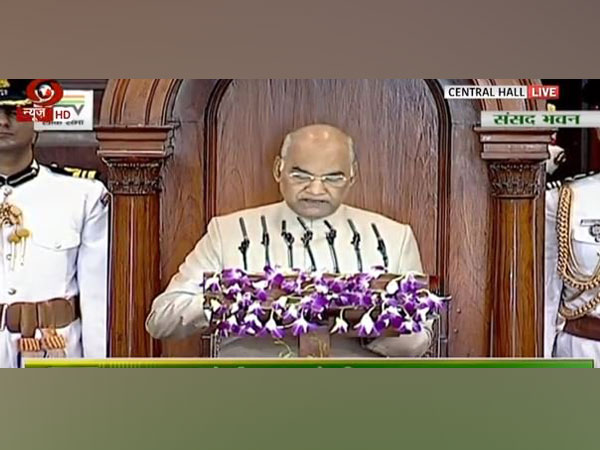 President Ram Nath Kovind addressing a joint session of Parliament on Thursday. (Picture Credits: DD)