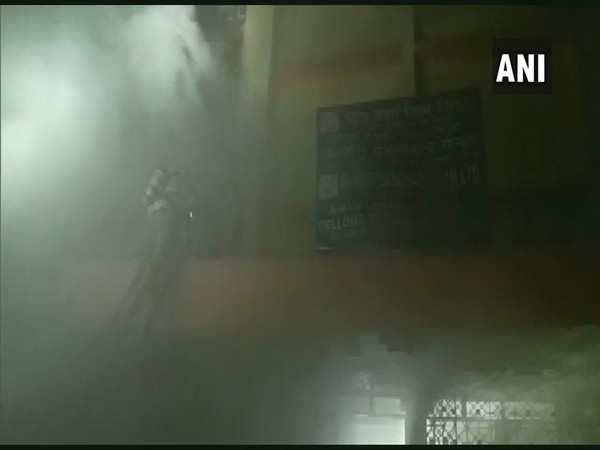 The BSNL building engulfed in smoke after a fire broke out in Kolkata on late Monday evening.