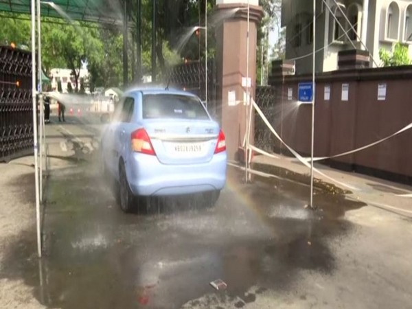 Sanitisation gate at the Eastern Command headquarter of Indian Army disinfecting a vehicle entering its premises. Photo/ANI