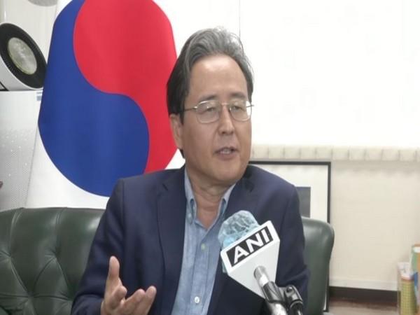 South Korean Ambassador to India Shin Bong-kil speaking to ANI on Monday. Photo/ANI