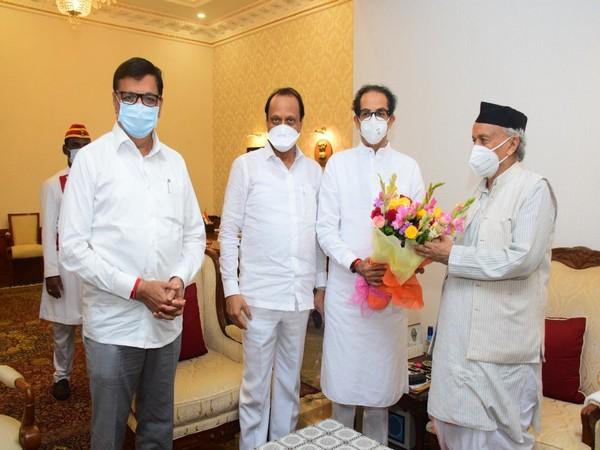 Maharashtra CM Uddhav Thackeray, Dy CM Ajit Pawar and Balasaheb Thorat met Governor BS Koshyari.