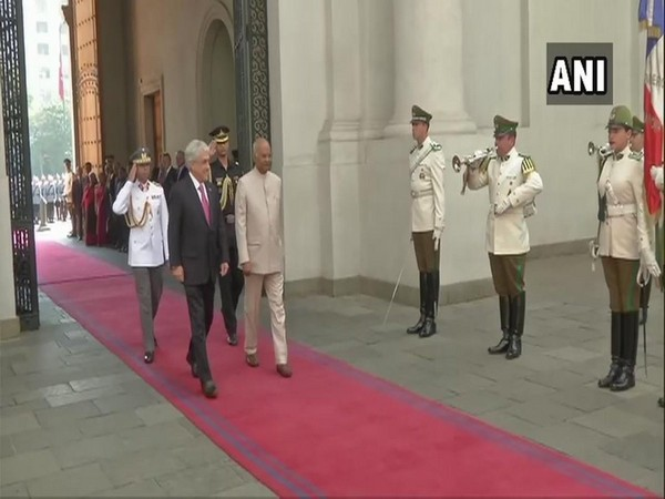 President Ram Nath Kovind and his Chilean counterpart Sebastian Pinera at the Presidential Palace in Santiago on Monday.