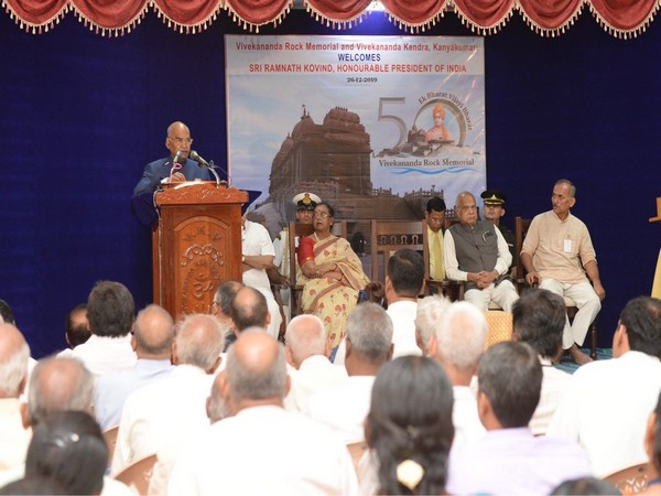 President Ram Nath Kovind while addressing a gathering at Vivekananda Kendra in Kanyakumari on Thursday.