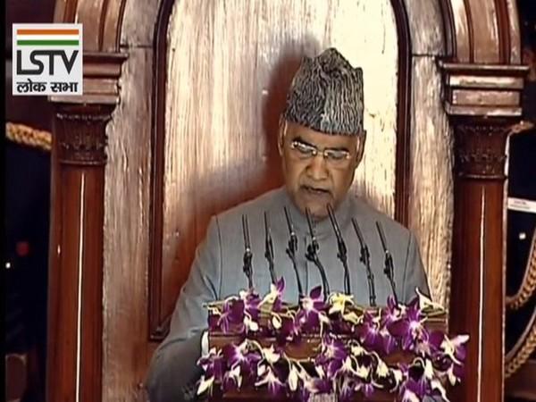 President Ram Nath Kovind addressing the Parliament on Friday. photo/ANI