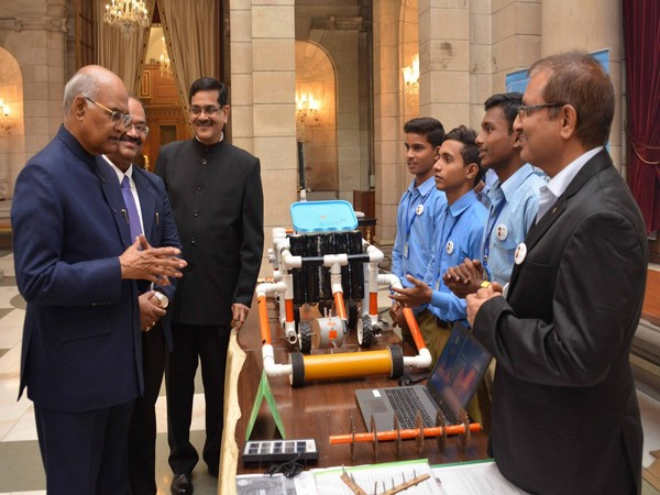 On Children's Day, President Ram Nath Kovind interacting with student innovators of Atal Tinkering Labs in Delhi on Thursday.