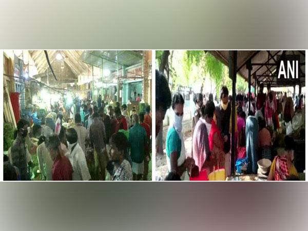 Huge crowd in Chennai's Koyembedu market and BB Kulam farmers' market in Madurai after CM Edappadi Palaniswami's announcement of 4 days lockdown in state. Photo/ANI