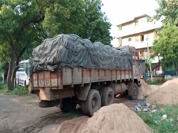 The lorry seized by police in Krishna district on Sunday. Photo/ANI