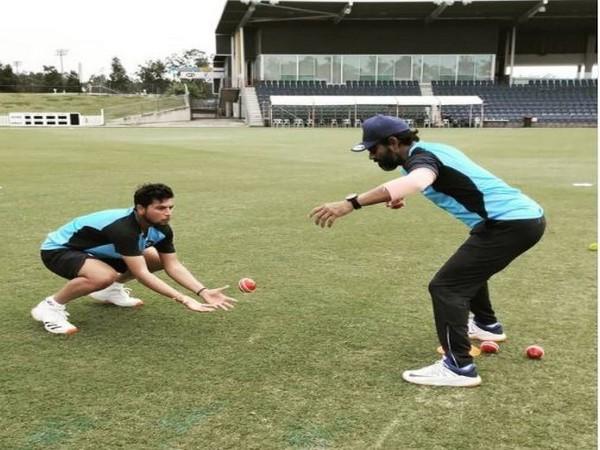 Spinner Kuldeep Yadav training with fielding coach R Sridhar (Photo/ Team India Instagram)