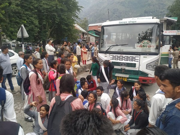 Students protest against shortage of buses in Kullu on Tuesday