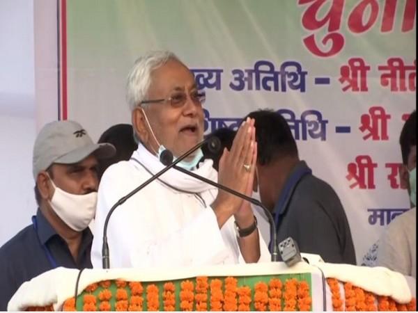 Bihar Chief Minister Nitish Kumar addressing an election rally in Mokama on Wednesday.
