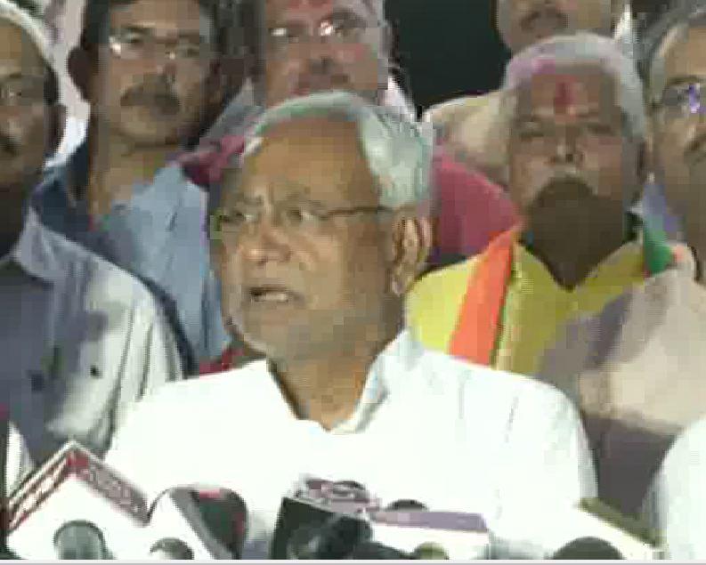 Bihar Chief Minister Nitish Kumar speaking to the media in Patna on Thursday