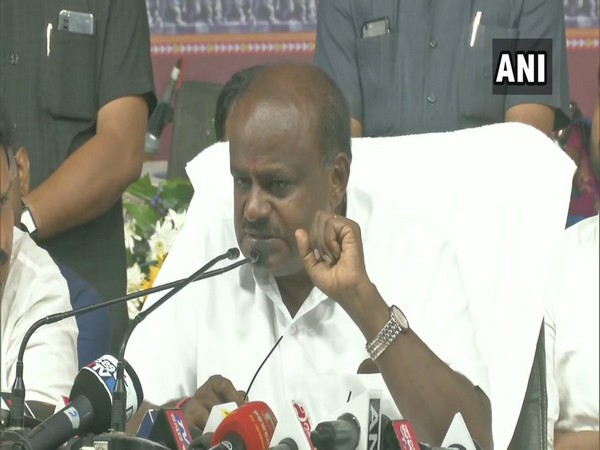 Karnataka Chief Minister HD Kumaraswamy while addressing a press conference in Yadgir, Karnataka on Saturday. Photo/ANI