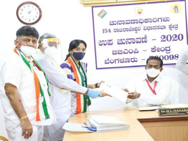 Congress candidate Kusuma H filed her nomination for Karnataka by-election on Wednesday. (Photo/ANI)