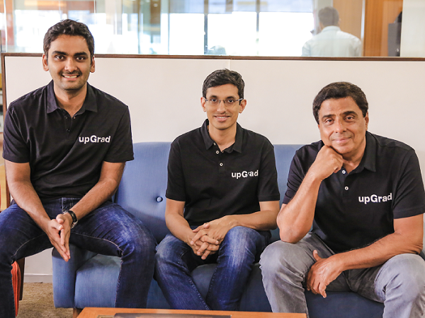 (L-R) Phalgun Kompalli, Mayank Kumar, and Ronnie Screwvala - Co-founders of upGrad