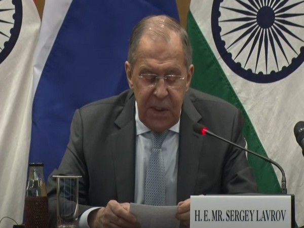 Russian Foreign Minister Sergey Lavrov during a press conference on Tuesday.