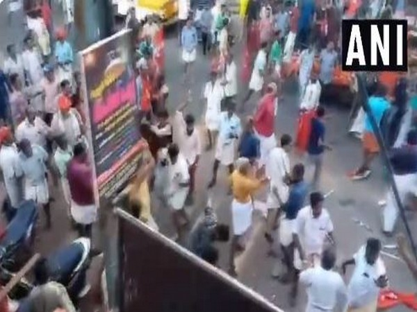 LDF and UDF workers clash in Kollam, Kerala, on Sunday