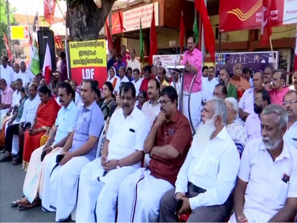 BR Anil, District secretary, CPI addressing protesters in Thiruvananthapuram on Tuesday. (Photo/ANI)