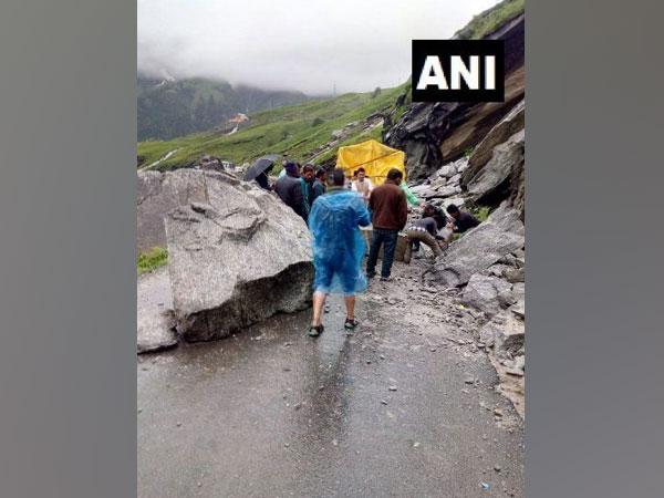 Traffic situation after landslide on National Highway-3