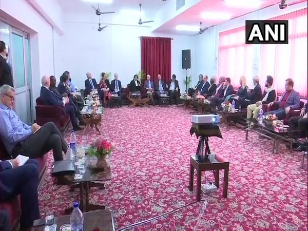 Foreign envoys on Thursday met Jammu and Kashmir Lieutenant Governor G C Murmu and Chief Justice Gita Mittal in Jammu. Photo/ANI