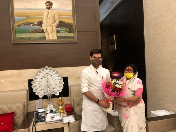 LJP leader Chirag Paswan with Usha Vidyarthi in New Delhi on Wednesday. Photo/ANI