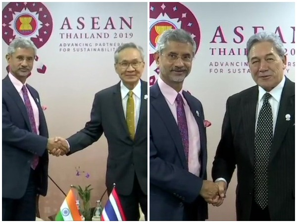External Affairs Minister S Jaishankar with his Thai and New Zealand counterparts in Bangkok on Thursday.
